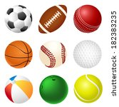 set of different sport balls | Shutterstock . vector #182383235