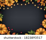 utumn leaves with pumpkins ... | Shutterstock .eps vector #1823893517