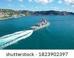 Small photo of Turkish Navy Warship transits Istanbul Strait in Turkey