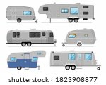 camping trailer collection. rv... | Shutterstock .eps vector #1823908877