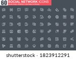social network thin line icon...