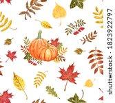 Fall Harvest Themed Seamless...