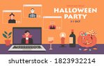 people in horror dress having... | Shutterstock .eps vector #1823932214