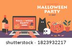online halloween party concept... | Shutterstock .eps vector #1823932217