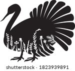 floral turkey icon vector... | Shutterstock .eps vector #1823939891