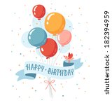 birthday balloons with happy... | Shutterstock .eps vector #182394959