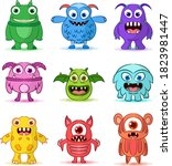 set of cute monsters character   Shutterstock .eps vector #1823981447