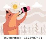 vector illustration with fox...   Shutterstock .eps vector #1823987471