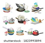 piles of dirty dishes and... | Shutterstock .eps vector #1823993894