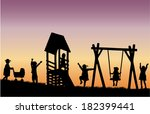 children at the playground. | Shutterstock .eps vector #182399441