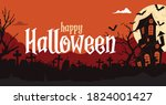 happy halloween banner with... | Shutterstock .eps vector #1824001427