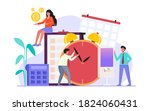 work on time and scheduled ... | Shutterstock .eps vector #1824060431