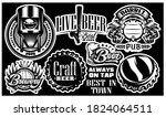 set of vector monochrome... | Shutterstock .eps vector #1824064511