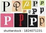 Paper Cut Letter P. Newspaper...