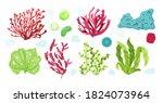 underwater marine flora set.... | Shutterstock .eps vector #1824073964