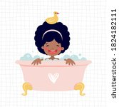 illustration with a girl in the ...   Shutterstock .eps vector #1824182111