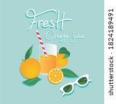 glass of fresh orange juice....   Shutterstock .eps vector #1824189491