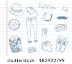 doodle hipster kit | Shutterstock .eps vector #182422799