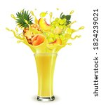 yellow fruit juice splash.... | Shutterstock .eps vector #1824239021