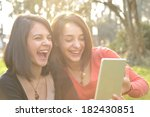 two beautiful young women... | Shutterstock . vector #182430851