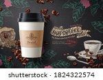 coffee ads  takeaway cup... | Shutterstock .eps vector #1824322574