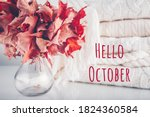 Fallen Leaves In A Vase With...