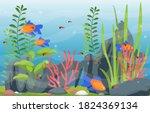 beautiful aquarium fish...   Shutterstock .eps vector #1824369134