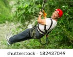 adult man on zip line ... | Shutterstock . vector #182437049