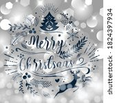 merry christmas greeting card.... | Shutterstock .eps vector #1824397934
