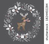 merry christmtas greeting card... | Shutterstock .eps vector #1824402284