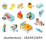 isometric cold flu virus icon...   Shutterstock .eps vector #1824412694