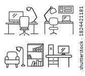 set of workspace at home icon... | Shutterstock .eps vector #1824421181