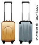 two suitcases on wheels  silver ... | Shutterstock .eps vector #182442227