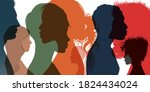 silhouette profile group of men ... | Shutterstock .eps vector #1824434024