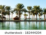 palm trees on beach coast in... | Shutterstock . vector #182444204