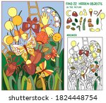 meadow with butterflies ... | Shutterstock .eps vector #1824448754