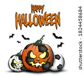 happy halloween. template... | Shutterstock .eps vector #1824458684