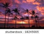 hawaiian sunset molokai hawaii | Shutterstock . vector #18245005
