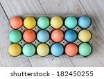 overhead view of dyed easter... | Shutterstock . vector #182450255