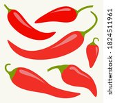 Chili Hot Pepper Icon Set. Red...