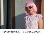 beautiful woman wearing... | Shutterstock . vector #1824523934