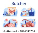 butcher or meatman concept set. ... | Shutterstock .eps vector #1824538754