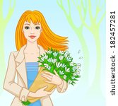 red haired girl with a bouquet...   Shutterstock .eps vector #182457281