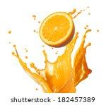 orange juice splashing with its ... | Shutterstock . vector #182457389