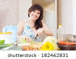 housewife cooking with celery... | Shutterstock . vector #182462831