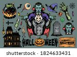 halloween colorful vintage... | Shutterstock .eps vector #1824633431
