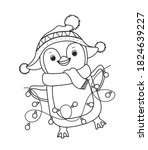 winter christmas penguin for... | Shutterstock .eps vector #1824639227