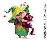 little witch hugs a black cat.... | Shutterstock . vector #1824668657