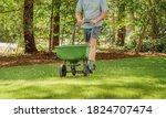 Man fertilizing and seeding...
