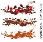 set of splash of chocolate with ... | Shutterstock .eps vector #1824727811